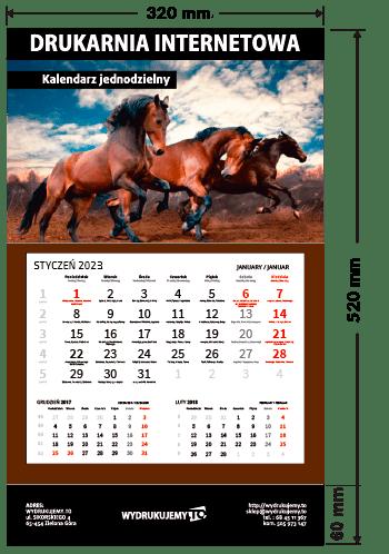 kalendarze jednodzielne kaszerowane